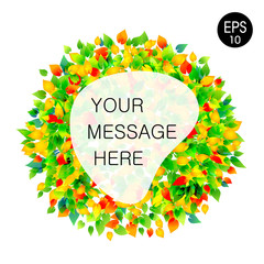 Abstract botanic template for website. Vector green frame for text from leafs. eps 10