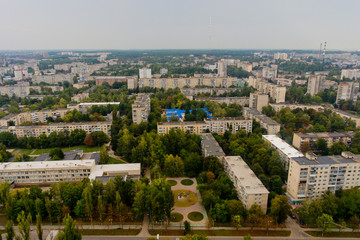 Beautiful urban autumn landscape. Aerial view.