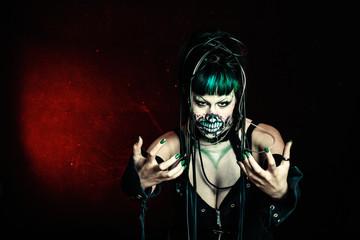 scary cyber skeleton woman studio shot