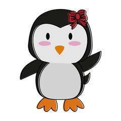 penguin waving hello or bye cute animal cartoon icon image vector illustration design