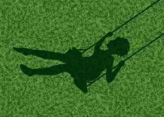 balançoire - ombre - enfant - fille - bonheur - symbole - concept - fond - herbe, jeu
