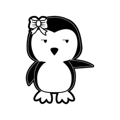 penguin side eye pointing to the side cute animal cartoon icon image vector illustration design  black and white