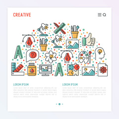 Creative concept in half circle with thin line icons of idea, puzzle, color palette, brushes, creative vision, development design. Vector illustration of banner, web page, print media.
