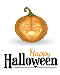 Halloween background with pumpkin lantern and lettering  on white.