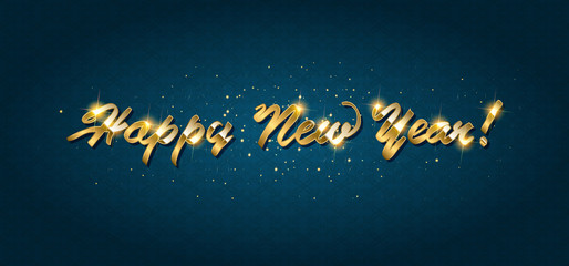 Gold Happy New Year greeting text