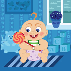 Cartoon baby with sugar candy in the room