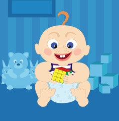 Cartoon cute baby with rubik's cube