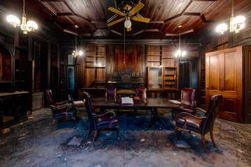 Dark Wood Paneled Library & Center Table - Abandoned Tioranda Mansion and Hospital - New York
