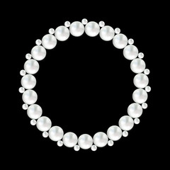 Pearl white bead round frame on black background