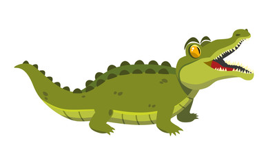 funny green crocodile on a white background. vector