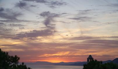 A sunset on the sea. La Herradura, Almunecar, Granada province, Andalusia, Spain.