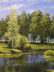 Oil paintings landscape, river and trees, pond, art