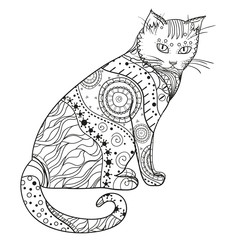 Cat. Design Zentangle. Hand drawn cat with abstract patterns on isolation background. Design for spiritual relaxation for adults.  Black and white illustration for coloring. Zen art. Decorative style