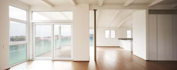 Obraz Modern attic, empty living room - fototapety do salonu