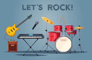 Rock music poster. Old school party. Cartoon vector illustration.