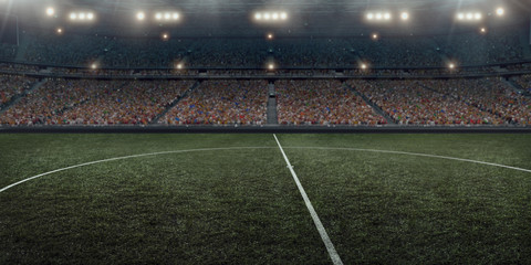 Professional soccer arena in 3D. Dramatic soccer stadium are full of fans.
