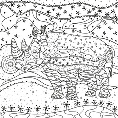 Rhinoceros. Abstract eastern pattern. Hand drawn texture with abstract patterns on isolation background. Design for spiritual relaxation for adults. Line art. Black and white illustration for coloring