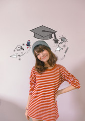 Education and graduation Concept. Young asian woman college student holding her books smiling happily with education and learning illustration doodles background