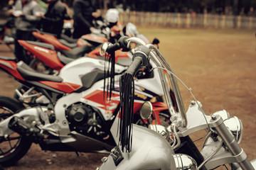Silvery steering wheel motorcycle