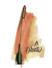 Rocket firecrackers in a pot Happy Diwali.