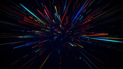 Colorful radial motion blurred light rays abstract background