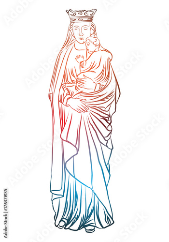 virgin mary holding baby jesus christian and christmas holiday