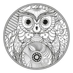 Mandala. Owl. Zentangle. Hand drawn circle zendala with abstract patterns on isolation background. Design for spiritual relaxation for adults. Line art. Black and white illustration for coloring.