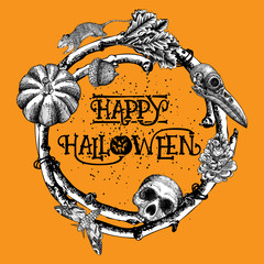 Lettering Happy Halloween with hand drawn twigs laurel, wreath or frame decoration. Orange Halloween background with skulls, pumpkin and insects illustration. Vector.