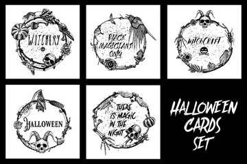 Set of hand drawn cards. Spooky Halloween Party sketch frame design illustration. Detailed holiday backgrounds. All items are separate with twigs laurel, forest wreath or boho witch frame. Vector.