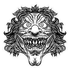 Scary cartoon clown illustration. Horror movie zombie clown face character. Vector.