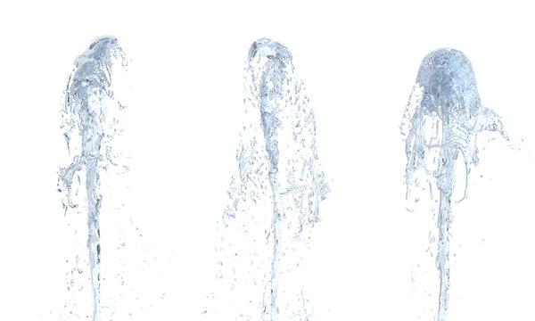 Jet of water upward stream on white background 3d