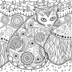 Mandala with cats. Zentangle. Hand drawn cat with abstract patterns on isolation background. Design for spiritual relaxation for adults. Black and white illustration for coloring. Outline for t-shirts