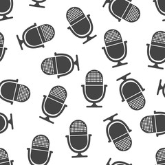 Microphone seamless pattern. Business concept microphone pictogram. Vector illustration on white background.