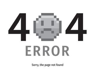 404 error emoticon - isolated vector illustration. Page Not Found Error 404.