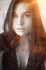 Fototapeta Fashion portrait of a young beautiful adult brunette girl