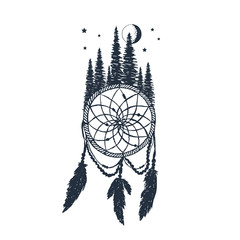 Hand drawn label with dream catcher and forest textured vector illustrations.