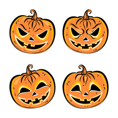 Set of four halloween pumpkins. Collection emotions, scary and funny pumpkins faces. Vector illustration.