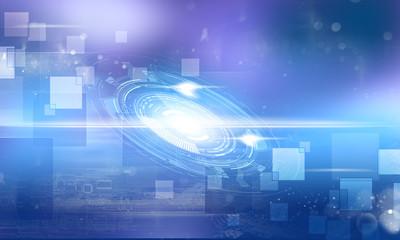 Illustration high computer technology dark blue color background.