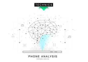 Trendy technics Innovation systems layouts in polygonal contour line composition, future analysis and technology operations. Made in awesome realy geometry style with linear pictogram of future design