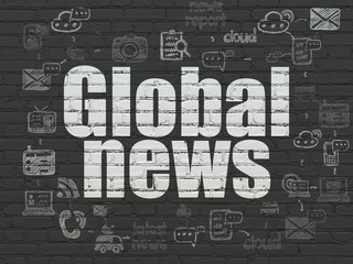 News concept: Global News on wall background