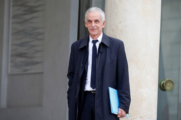 Philippe Louis, President of the CFTC union, arrives for a meeting with French President at the Elysee Palace in Paris
