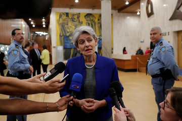Irina Bokova, Director General of UNESCO, talks to journalists at the headquarters of the United Nations Educational, Scientific and Cultural Organization (UNESCO) in Paris