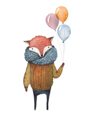 A fox-guy holding a bunch of balloons.
