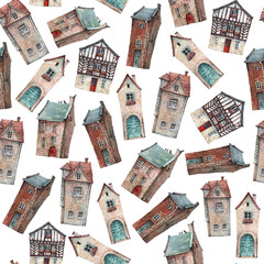 Seamless pattern with hand painted in watercolor old houses.