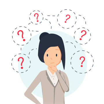 Young hipster business woman thinking standing under question marks. Vector flat cartoon illustration character icon.