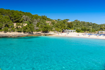 Poster Turquoise Beautiful Beach of Cala S'Amarador at Mondrago - Natural Park on Majorca Spain, Balearic Islands, Mediterranean Sea, Europe