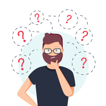 Young hipster business man thinking standing under question marks. Vector flat cartoon illustration character icon.