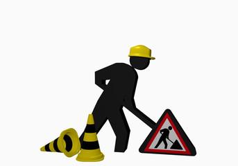 Baustellen-Männchen mit Leitkegel und Baustellenschild für die Betriebssicherheit