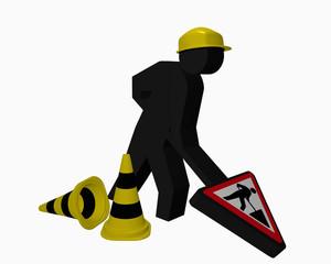 Baustellen-Männchen mit Leitkegel für die Betriebssicherheit