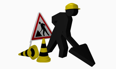 Baustellen-Männchen mit Aufsteller und Leitkegel für die Betriebssicherheit
